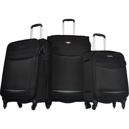 1d01c5ca3e393 Pierre Cardin 3'Lü Kumaş Valiz Seti Siyah 2300 Fiyatı