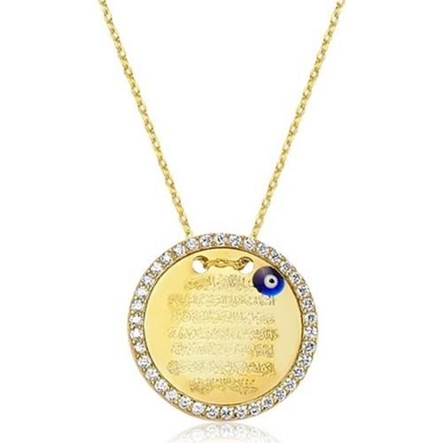 Affix Silver Gümüş Altın Kaplama Ayetel Kürs-İ Kolyesi