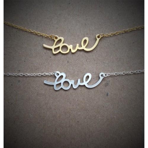 Crystal Baby Özel Tasarım El Yazısı Love Aşk Gümüş Kolye