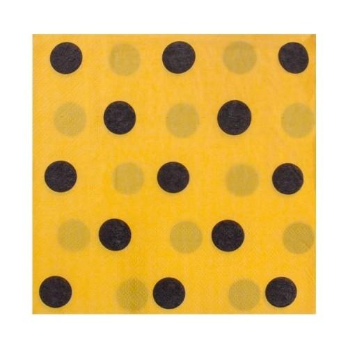 Parti Şöleni Sarı Üzerine Siyah Puanlı Peçete 20 Adet