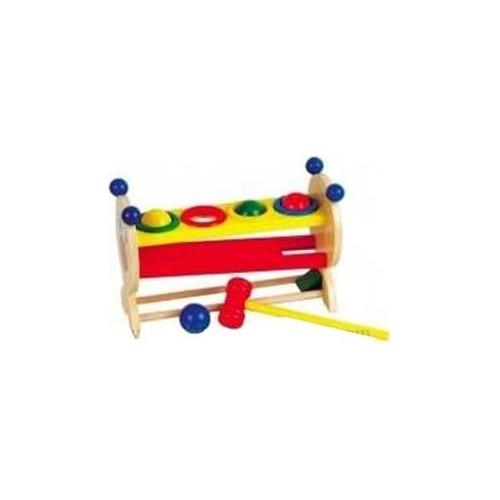 Blueway 4 Renkli Top Ve Ahşap Çekiç - Çocuk Gelişim Oyunu