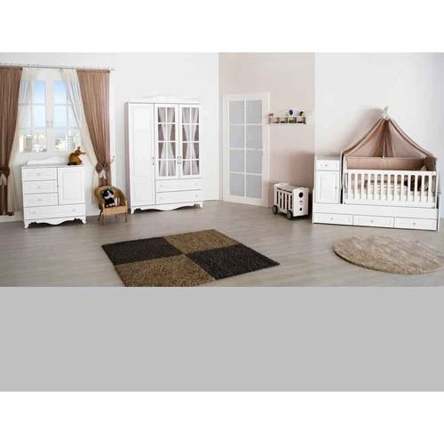 Aymini Arman Bebek Odası Büyüyen Beşikli Beyaz