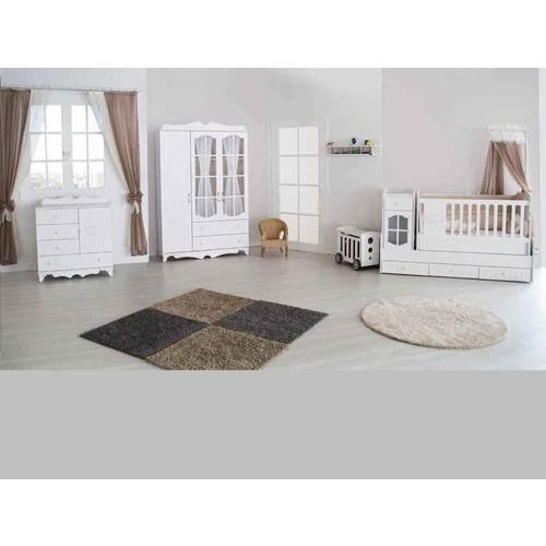 Aymini Sultan Mdf Bebek Odası Takımı Beyaz