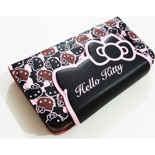 Mobillife Apple İphone 4/4S Hello Kitty Kapaklı Cüzdanlı Siyah Kılıf