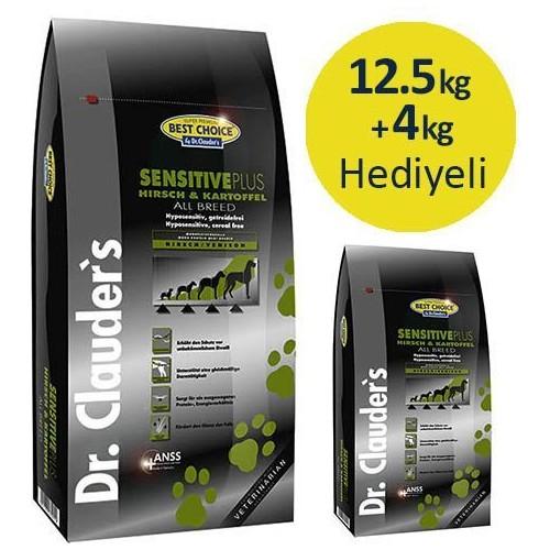 Dr.Clauders Sensitive Plus Geyiklipatatesli Tahılsız Yetişkin Köpek Maması 12,5 Kg+4 Kg