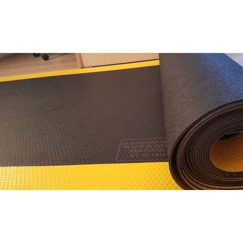 İzole Halı - Yalıtan Paspas 100*3 Mm 25 Kv İkaz Şeritli-Siyah-