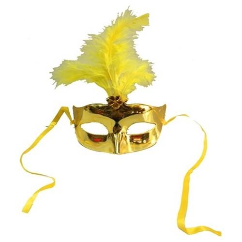 Tvs Tüylü Balo Maskesi Sarı Renk