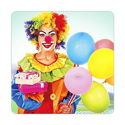 Fotografyabaskı Balonlar ve Palyanço Bardak Altlığı Baskı 4'lü Set