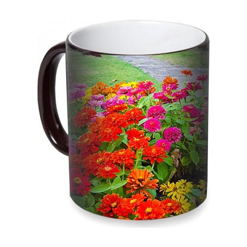 Fotografyabaskı Renkli Çiçekler Sihirli Siyah Kupa Bardak Baskı