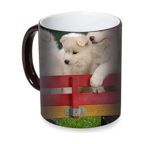 Fotografyabaskı Beyaz Yavru Köpekler Sihirli Siyah Kupa Bardak Baskı