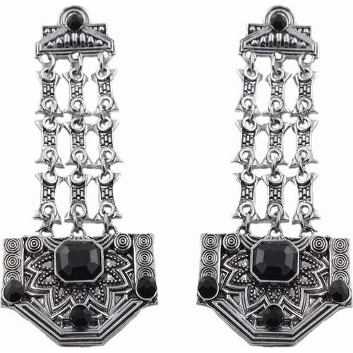 Osmanlı Motifli 2016 Moda Gümüş Kaplama Etnik Büyük Küpe
