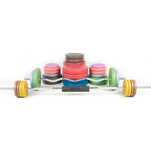 Spor724 157 Kg. Ağırlık Dambıl Bar Plaka Seti Kondisyon Gym Fitness Spor Aleti + Bar Boyun Göğüs Pedi PS157-3