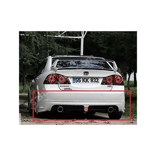 Civic Honda 2006 - 2011 Rr Arka Tampon Çift Egzoz Çıkışlı - Boyalı