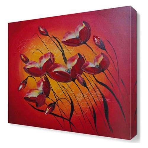 Dekor Sevgisi Kalp Şekilli Laleler Tablosu 45x30 cm