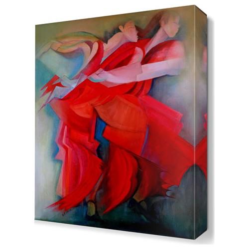 Dekor Sevgisi Kırmızı Elbiseli Kadınlar Tablosu 45x30 cm