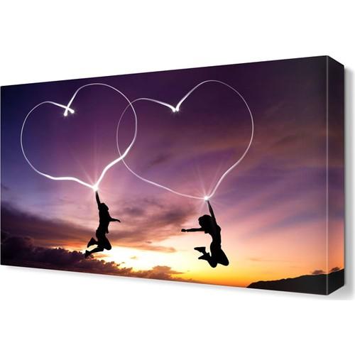 Dekor Sevgisi Uçan Kalpler Canvas Tablo 45x30 cm