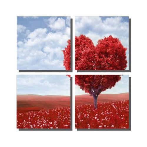 Dekor Sevgisi Kırmızı Kalp Ağacı Tablosu 85x85 cm