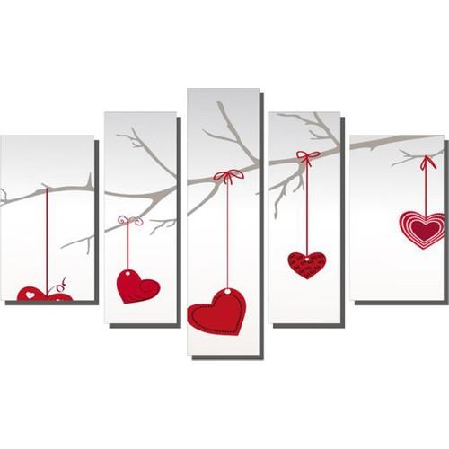 Dekor Sevgisi Daldaki Kalpler Tablosu 84x135 cm