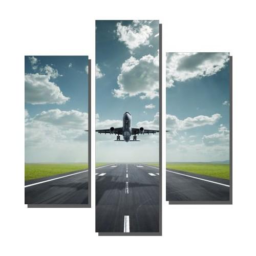 Dekor Sevgisi 3 Parçalı Uçak Tablosu 100x100 cm