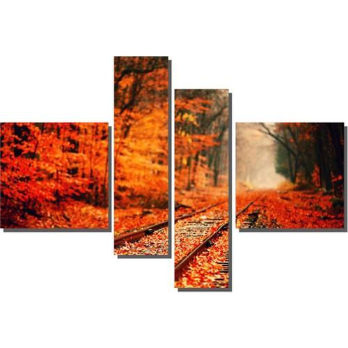 Dekor Sevgisi 4 Parçalı Yapraklı Tren Yolu Tablosu 90x127 cm