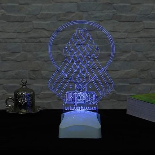 Decor Desing 3 Boyutlu La İlahe İllallah Lamba V23D116