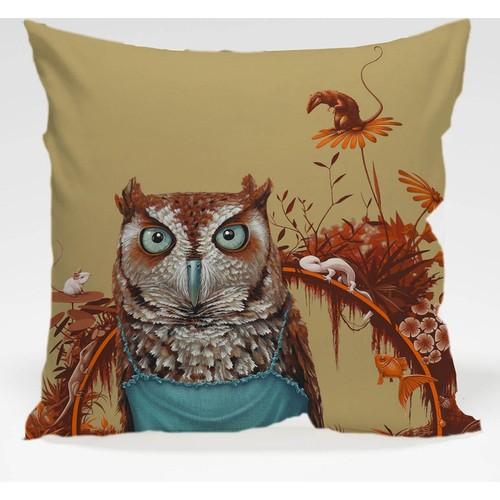 Decor Desing Baykuş Yastık Kılıfı Owl011