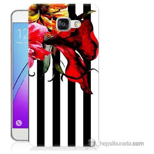 Bordo Samsung Galaxy A3 2016 Çiçek Baskılı Silikon Kapak Kılıf
