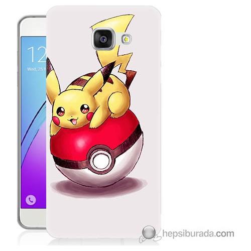 Bordo Samsung Galaxy A3 2016 Pokemon Topu Baskılı Silikon Kapak Kılıf