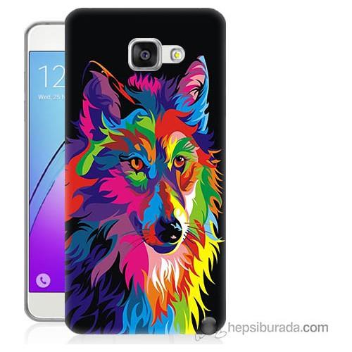 Bordo Samsung Galaxy A5 2016 Renkli Kurt Baskılı Silikon Kapak Kılıf