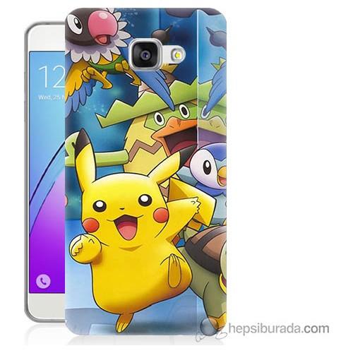Bordo Samsung Galaxy A5 2016 Pikachu Ve Arkadaşları Baskılı Silikon Kapak Kılıf