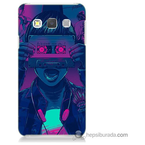 Bordo Samsung Galaxy A7 Kaset Göz Baskılı Silikon Kapak Kılıf
