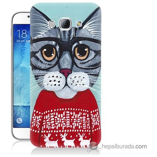 Bordo Samsung Galaxy A8 Üzgün Kedicik Baskılı Silikon Kapak Kılıf