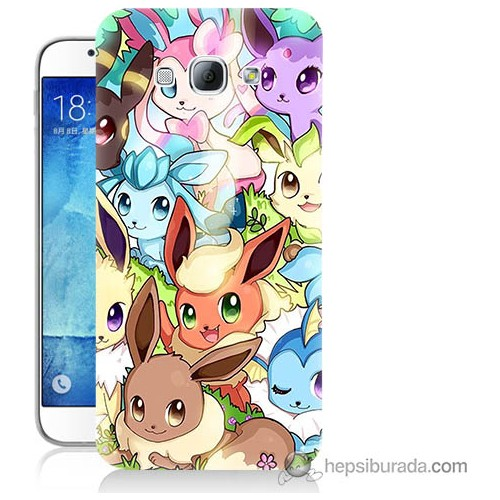 Bordo Samsung Galaxy A8 Pokemon Baskılı Silikon Kapak Kılıf
