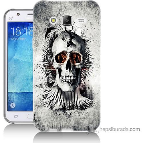 Bordo Samsung Galaxy J3 Hayalet Kuru Kafa Baskılı Silikon Kapak Kılıf