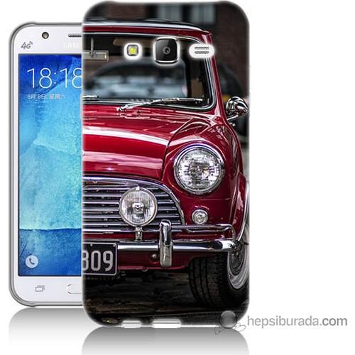 Bordo Samsung Galaxy J5 Kırmızı Klasik Araba Baskılı Silikon Kapak Kılıf