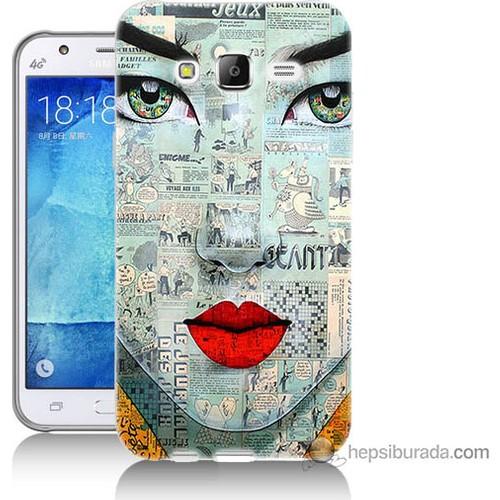 Bordo Samsung Galaxy J5 Karikatür Yüz Baskılı Silikon Kapak Kılıf