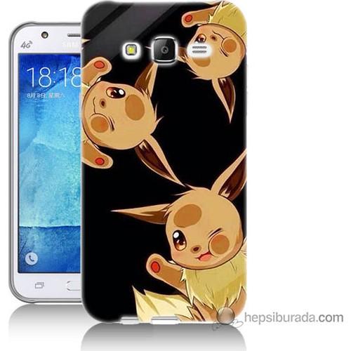 Bordo Samsung Galaxy J7 Üçlü Pikachu Baskılı Silikon Kapak Kılıf