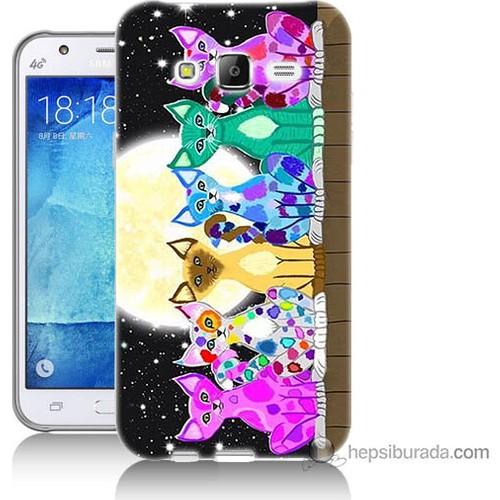 Bordo Samsung Galaxy J7 Ay Ve Kediler Baskılı Silikon Kapak Kılıf