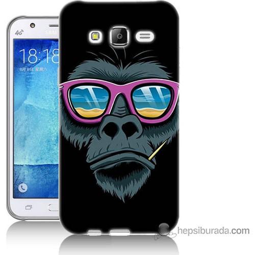 Bordo Samsung Galaxy J7 Gözlüklü Maymun Baskılı Silikon Kapak Kılıf