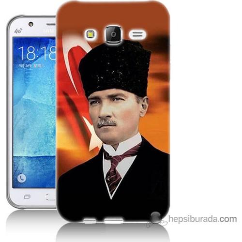 Bordo Samsung Galaxy J7 Atatürk Ve Bayrak Baskılı Silikon Kapak Kılıf