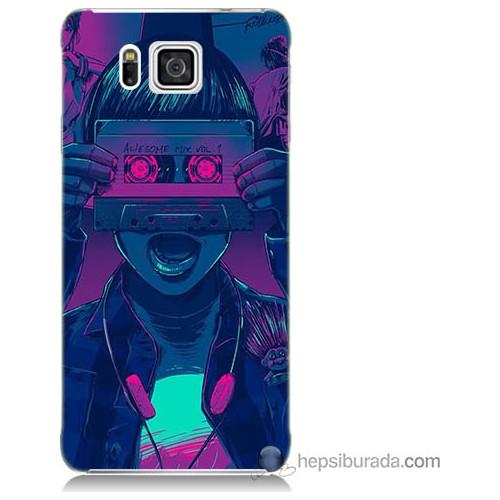 Bordo Samsung Galaxy Alpha G850 Kaset Göz Baskılı Silikon Kapak Kılıf