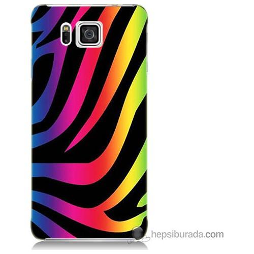 Bordo Samsung Galaxy Alpha G850 Renk Cümbüşü Baskılı Silikon Kapak Kılıf