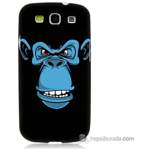Bordo Samsung Galaxy S3 Mavi Goril Baskılı Silikon Kapak Kılıf