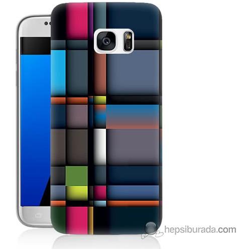 Bordo Samsung Galaxy S7 6D Kareler Baskılı Silikon Kapak Kılıf