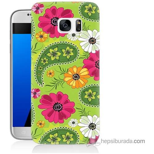 Bordo Samsung Galaxy S7 Renkli Patchwork Baskılı Silikon Kapak Kılıf