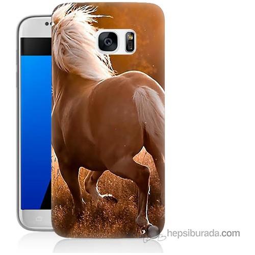 Bordo Samsung Galaxy S7 At Baskılı Silikon Kapak Kılıf