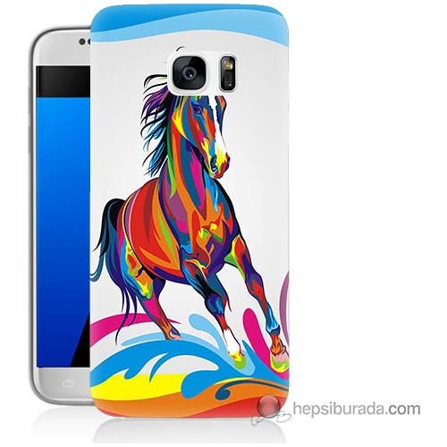Bordo Samsung Galaxy S7 Renkli At Baskılı Silikon Kapak Kılıf