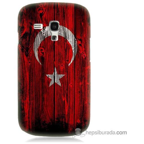 Bordo Samsung Galaxy S3 Mini Türk Bayrağı Baskılı Silikon Kapak Kılıf