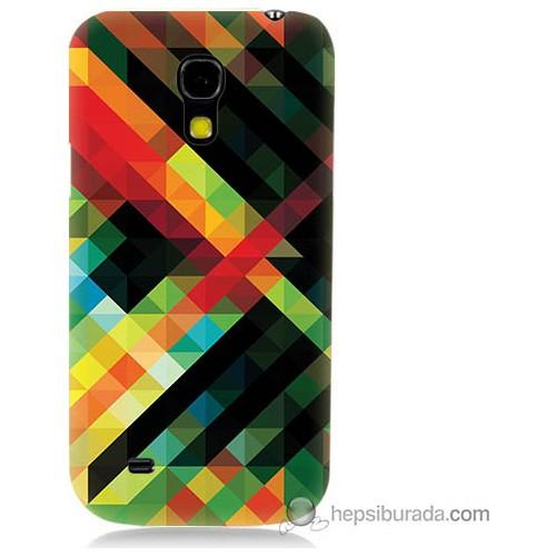 Bordo Samsung Galaxy S4 Mini Renkli Çizgiler Baskılı Silikon Kapak Kılıf
