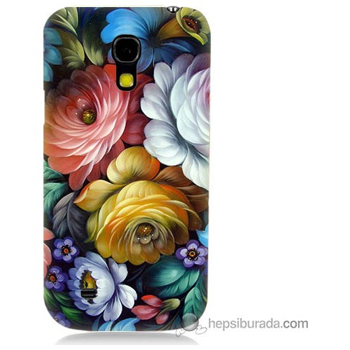 Bordo Samsung Galaxy S4 Mini Tablo Çiçekleri Baskılı Silikon Kapak Kılıf